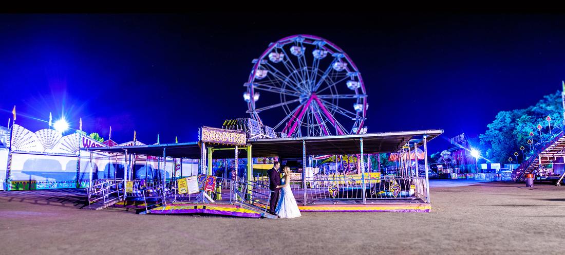 Carp Fair Wedding Portrait at night