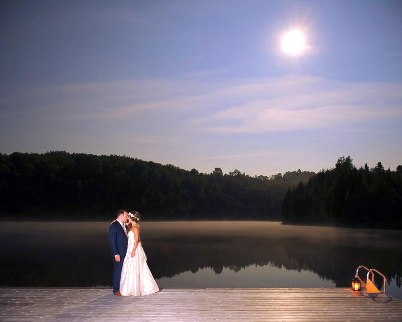 Private lake wedding portrait on dock