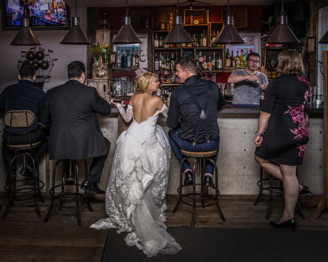 Wedding portrait in Hull bar