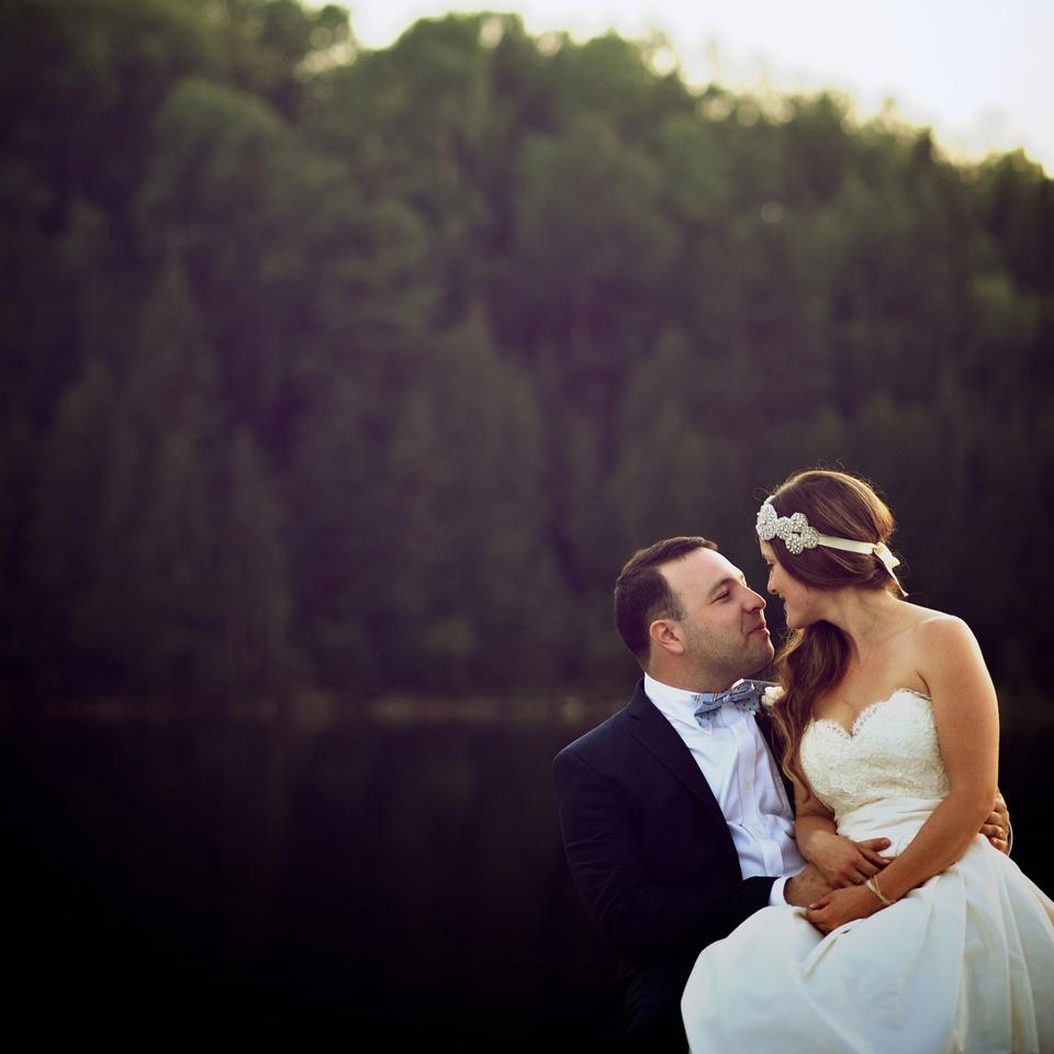 Private lake wedding portrait