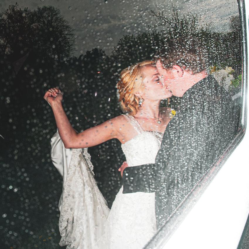 Wedding Reflection in Glass