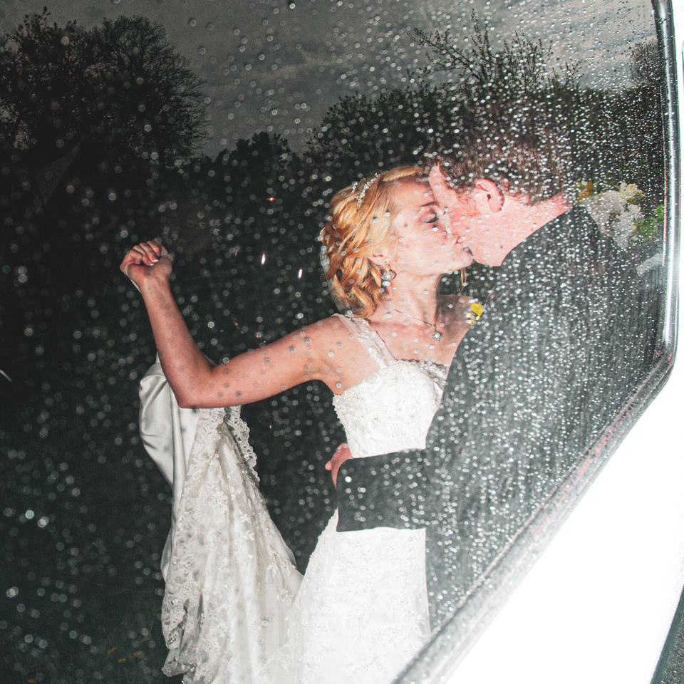 Wedding Reflection in Glass